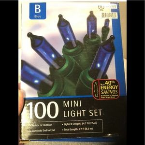 3 Holiday Christmas 100 Blue Light Set